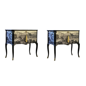 (202-2) Gustavian Commode With 17th Century Print (A Pair) (DaVinci)