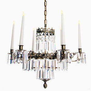 Swedish Chandelier - Dark Brass 6 Arm Chandelier With Full Cut X Prisms