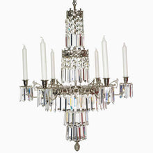 Swedish Chandelier - Nickel 6 Arm Chandelier With Full Cut X Prisms