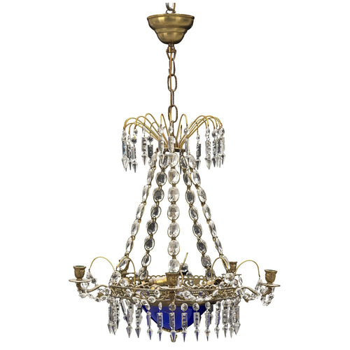 antique swedish chandelier with crystal and blue glass