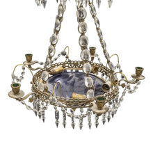 antique swedish chandelier with blue glass and electrics
