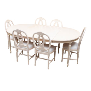 1990s Gustavian Dining Furniture- Set of 6 chairs plus table and leaves