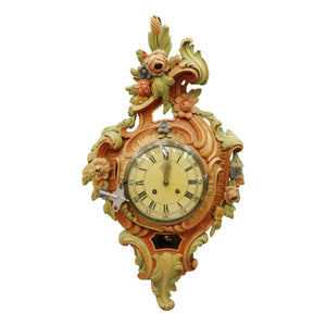 Gustavian wall clock with carved detail and paint effect