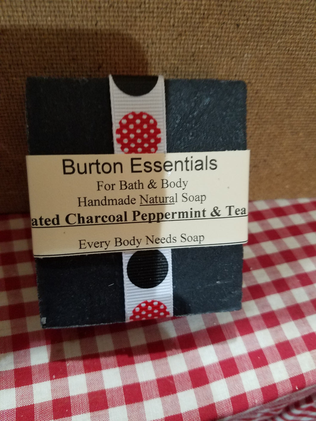Peppermint Tea Tree with Activated Charcoal, All Natural, 85% Organic Soap Bar