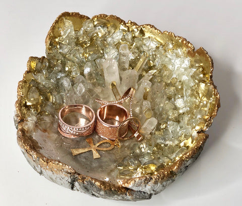 Golden Crystal Quartz Jewelry Bowl (Small)