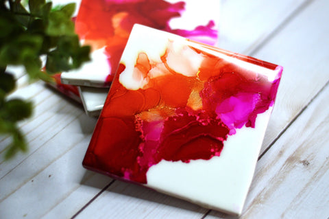 Magenta, Red & Orange Coasters
