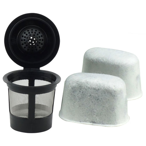 1 Keurig Reusable Single K-Cup Solo Coffee Filter Pod and 2 Charcoal Water Filter Cartridges