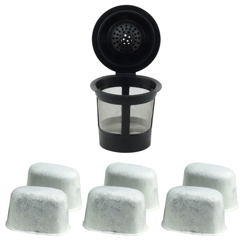 1 Keurig Reusable Single K-Cup Solo Coffee Filter Pod and 6 Charcoal Water Filter Cartridges