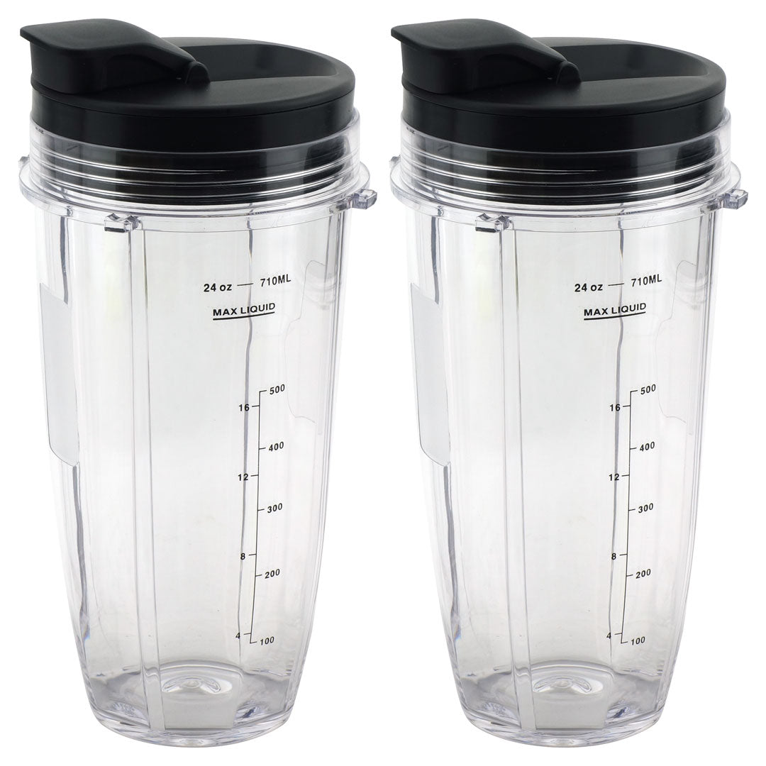 2 Pack 24 Oz Cups With Spout Lids Replacement For Nutri