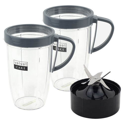 2 Pack 24 oz Tall Cup with Handled Lip Ring + Extractor Blade for Nutribullet Lean NB-203 1200W Blender