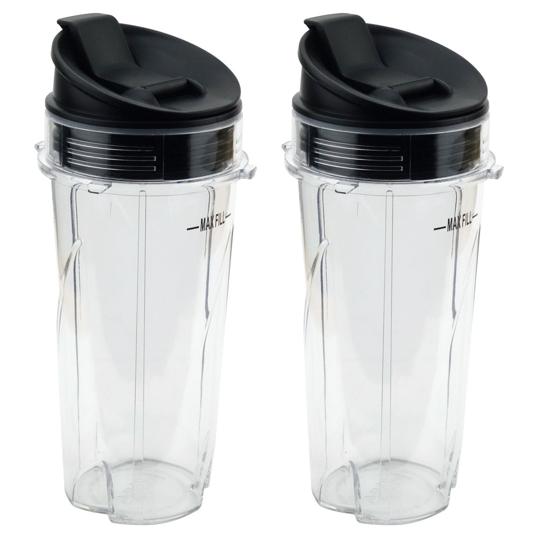 2 Pack Nutri Ninja 16 oz Cups with Sip & Seal Lids for BL660 BL660W BL740 BL810 BL820 BL830 Model 303KKU 356KKU800