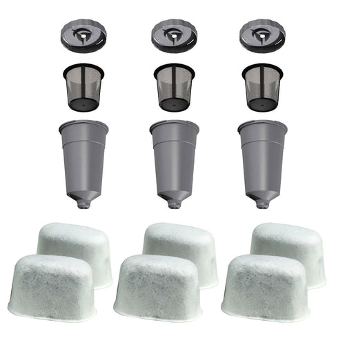 3 K-Cup Coffee Filter Set - 6 Water Filter Cartridges for Keurig