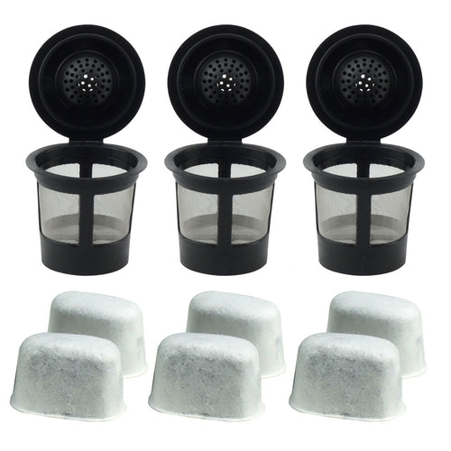 3 Keurig Reusable Single K-Cup Solo Coffee Filter Pods and 6 Charcoal Water Filter Cartridges