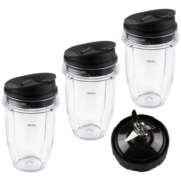 3 Nutri Ninja 18 Oz Cups With Sip Amp Seal Lids And 1