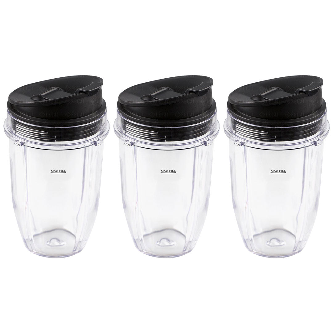 3 Pack Nutri Ninja 18 oz Cups with Sip & Seal Lids Replacement Model 427KKU450 408KKU641