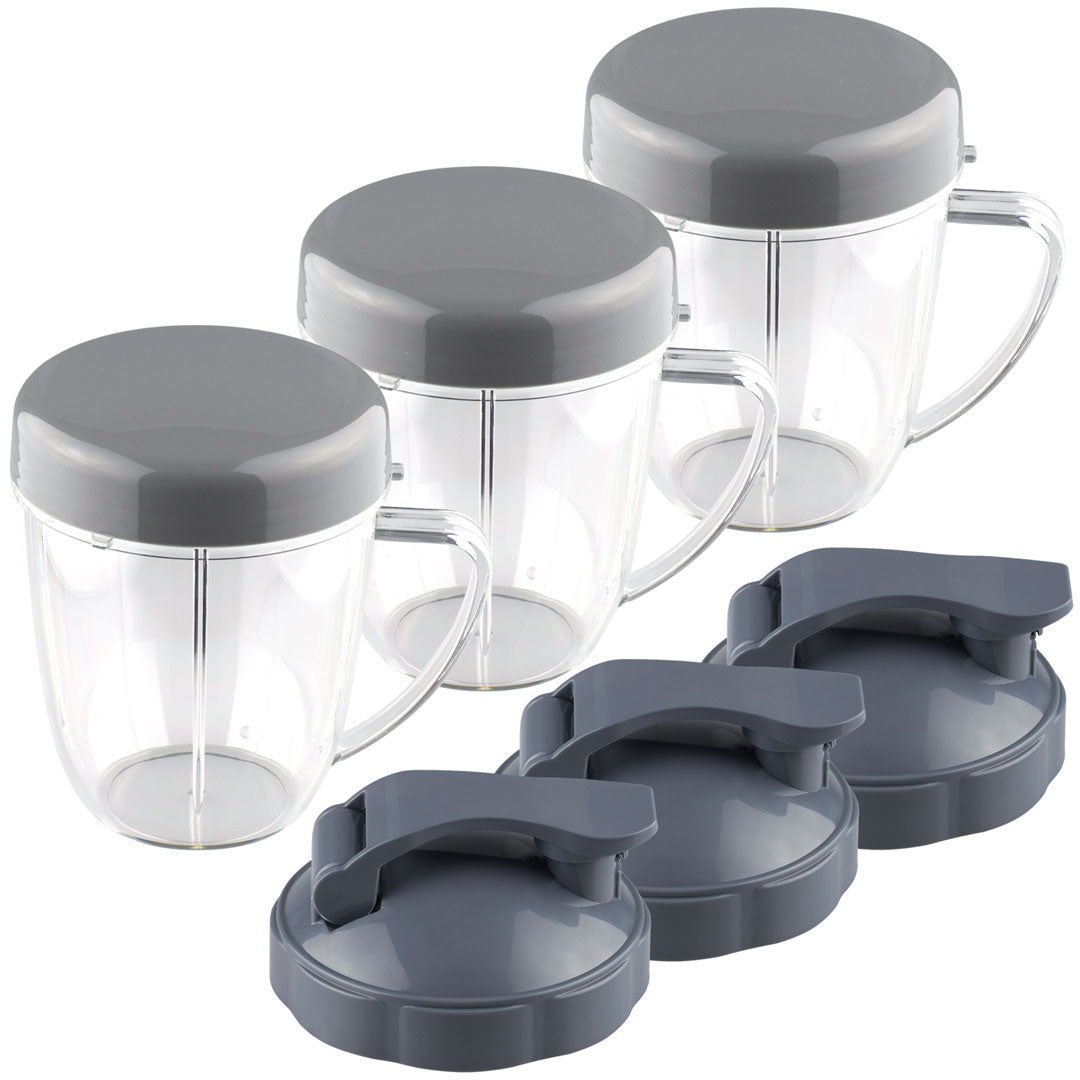 3 Pack NutriBullet 18 oz Handled Short Cup with Re-Sealable Lid and Flip To-Go Lid