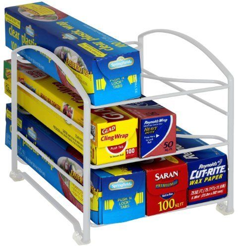 BlenderPartsUSA Kitchen Wrap Organizer Rack White Medium