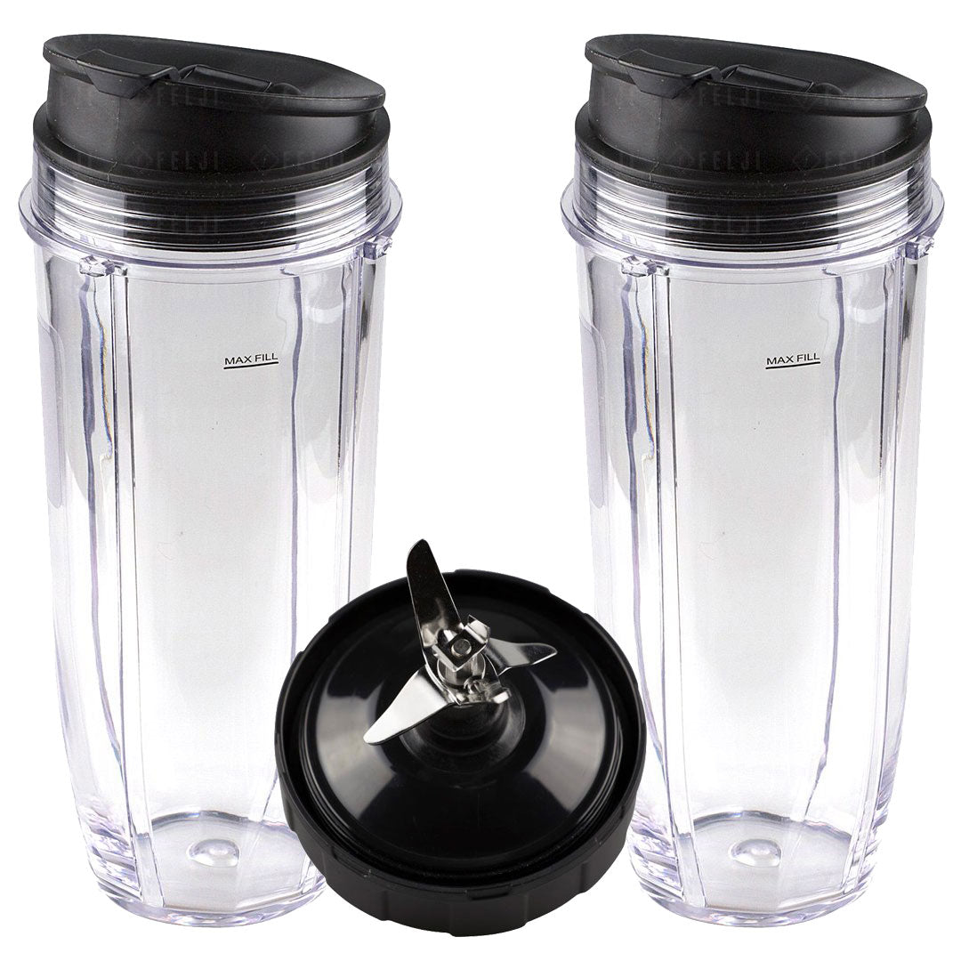 2 Nutri Ninja Jumbo Multi-Serve 32 oz Cups with Sip & Seal Lids and 1 Extractor Blade Replacement Combo 407KKU641 408KKU641 409KKU641
