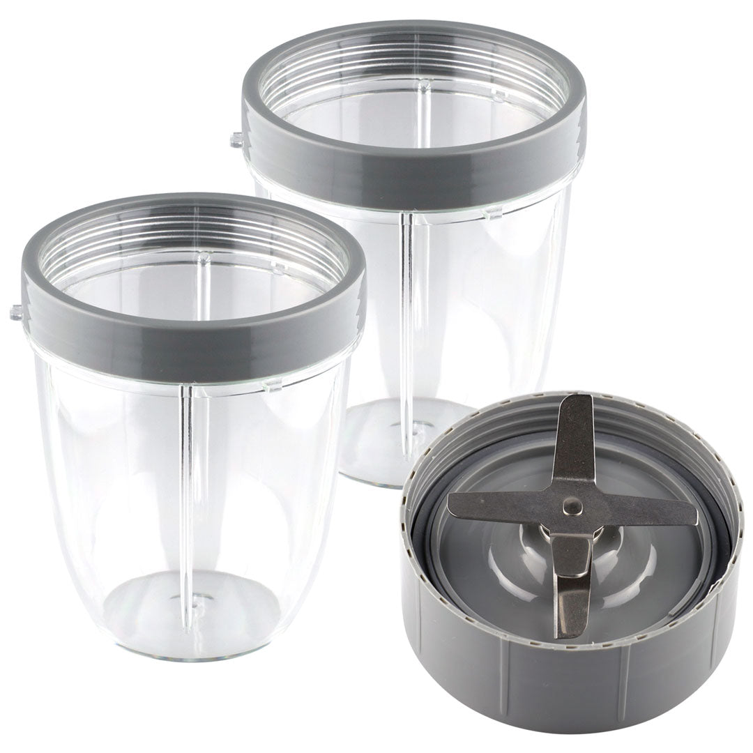 NutriBullet Extractor Blade + 2 18 oz Short Cups with Lip Ring