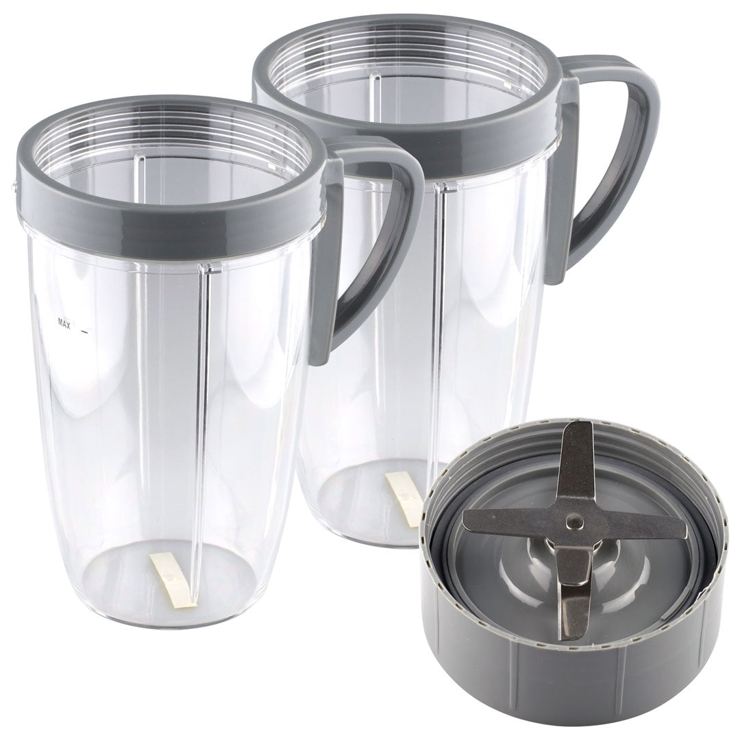 NutriBullet Extractor Blade + 2 24 oz Tall Cup with Handled Lip Ring