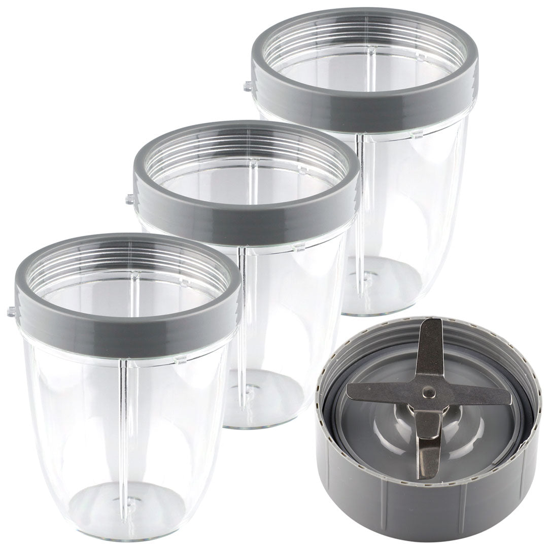 NutriBullet Extractor Blade + 3 18 oz Short Cups with Lip Ring