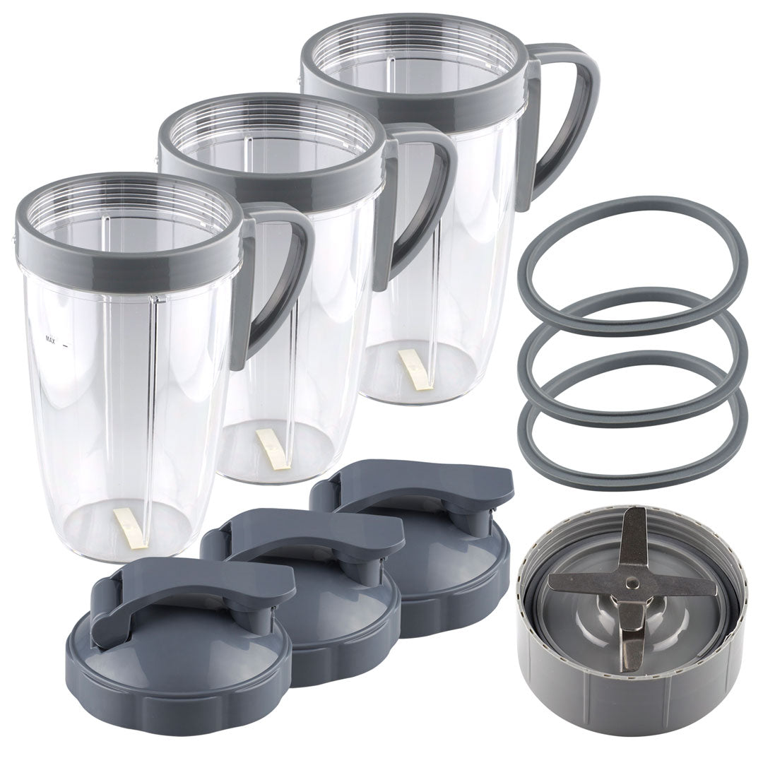 NutriBullet Extractor Blade + 3 24 oz Tall Cup with Handled Lip Ring, Flip To-Go Lids and 3 Gaskets