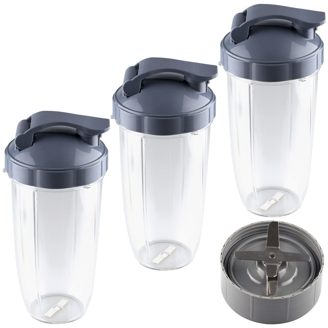 NutriBullet Extractor Blade + 3 32 oz Colossal Cups with Flip Top To-Go Lids