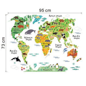 Animal World Map Decal