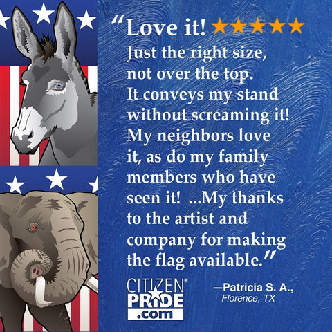 Fan review of our Elephant OR Donkey Party Flag