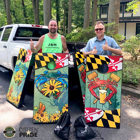 Mike Rosenbaum of J&M Custom Cornhole with Joe Barsin of Citizen Pride