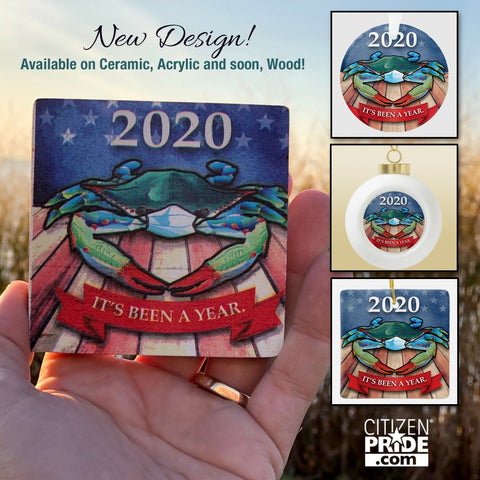 """New Design! 2020 Blue Crab with Face Mask, """"It's Been A Year."""" Ornaments"""