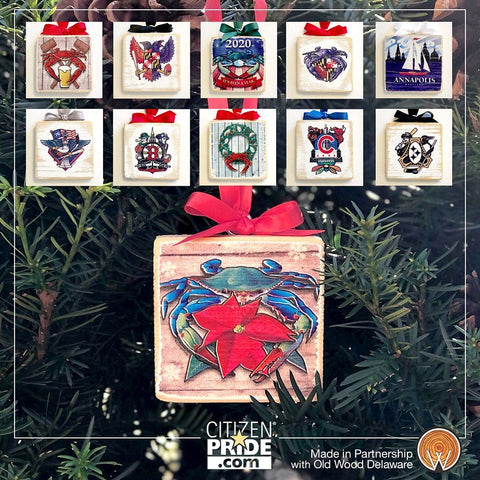 Bring a rustic charm to your tree or holiday hearth. Designed and made buy two, family-owned businesses, full-color artwork is printed directly on distressed wood.