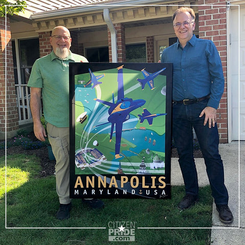 Designer, Joe Barsin, had fun delivering this large, 36x48 canvas wall art to Bob and his wife in Annapolis.
