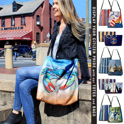 Citizen Pride original designs on totes and weekender bags at City Dock, Annapolis