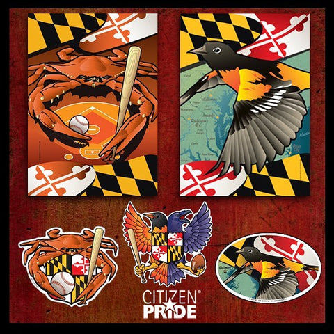 Support the O's with our original designs on stickers, magnets, garden and house flags.