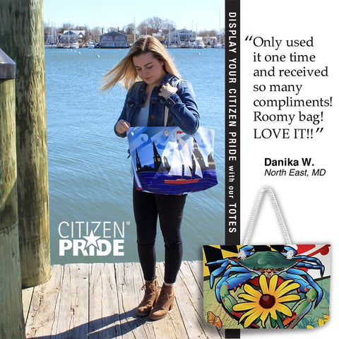 Red Sailboat tote bag by Citizen Pride at City Dock, Annapolis