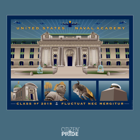 USNA Class of 2018 Commemorative Gift with Academy landmarks