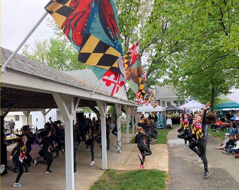 Maryland dancers perform below our Citizen Pride Maryland flags at the Made In Maryland Festival!