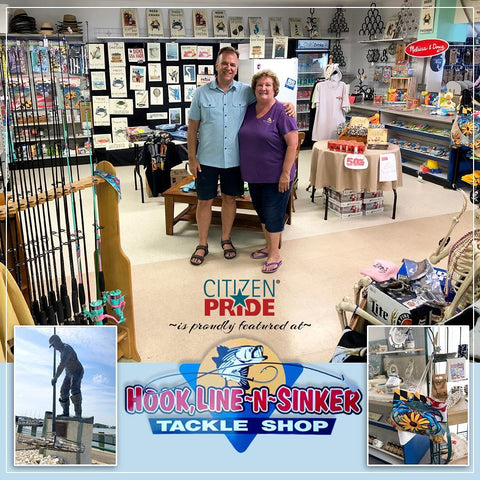 Shown here is Joe Barsin with Peggy States, owner of Hook Line N Sinker Tackle N GIFT Shop in Rock Hall, MD.