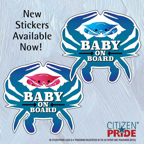 Baby On Board Car Stickers with Pink and Blue Crabs!