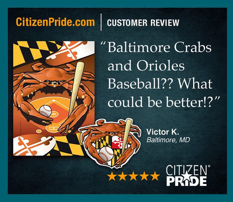 Fan loves CP's Baltimore Orioles Sports Crab Flag and Sticker