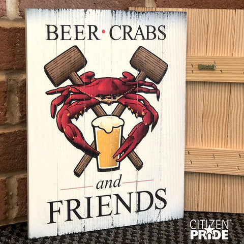 """Beer, Crab, and Friends"" Maryland Crab Feast, Wooden Sign, 8.75 x 11.75 x 1"""