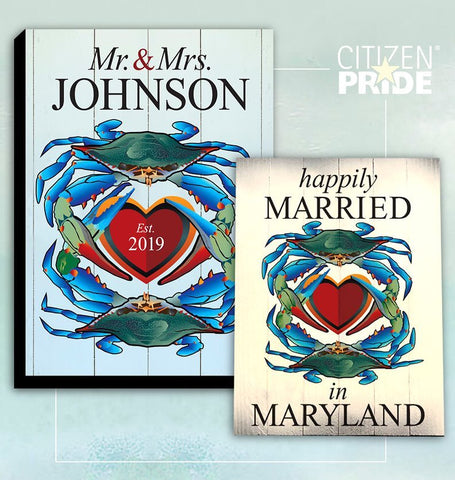 """Happily Married in Maryland"" Blue Crabs w/ Heart, Wooden Sign"