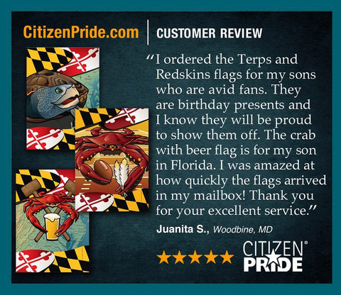 Maryland Terp and Crab Feast, Redskins Crab House and Garden Flags