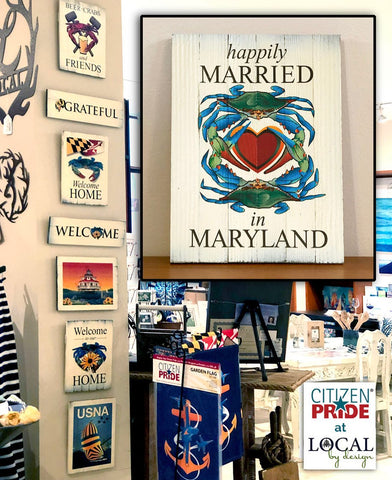 Happily Married in Maryland Blue Crab wooden sign