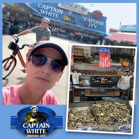 We see seafood and oh look! Citizen Pride. Ruth Copps McGovern of By The Bay Creations was in DC recently enjoying the weather and spotted our Red Crab/USA flags at the famous Captain White's Seafood