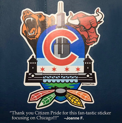Chicago Sports Fan Crest Sticker