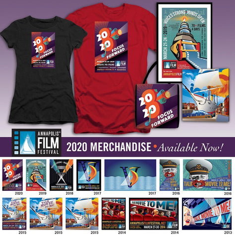 Get your merch now for the 8th Annual Annapolis Film Festival 2020 Art from past festivals also available for order.