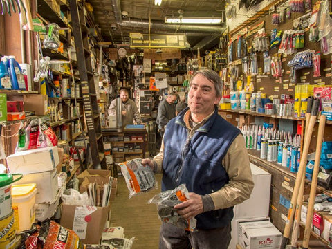 Owners Rick Miller's Dad at Zeskind's Hardware store in Baltimore.