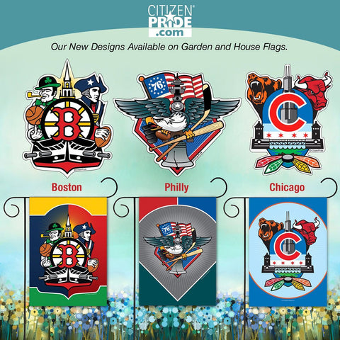 Display your Citizen Pride for your local sports teams, icons and popular landmarks with our original designs on garden flags and house flags.